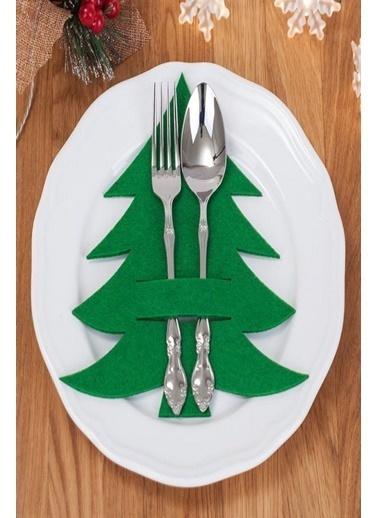 Arma House 6 Adet Çam Ağacı Kaşıklık & Peçetelik Servis Sunum Yeşil